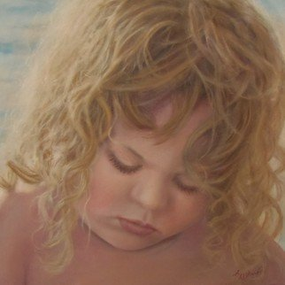 Ageliki Alexandridou: 'too busy by ageliki', 2016 Oil Painting, Children. Artist Description: My model is a cute little girl, playing with the sand a sunny afternoon at beach. She was so absorbed that day and for so long time, that I couldn t resist sketching her, emphasizing to this adorable face. Then I took some photos of her and later ...