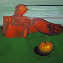 Karen Aghamyan: 'contemplating an applel', 2009 Oil Painting, Philosophy.