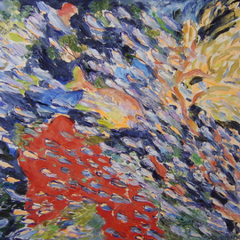 Agnieszka Praxmayer: 'School of fish with red', 2006 Oil Painting, Sea Life. Artist Description:    sea life / coral reef/ , fish / animals              ...