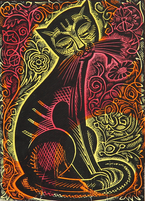 Alexander Gubarev  'Wise Cat', created in 1962, Original Printmaking Linoleum.