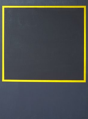 Anders Hingel: 'Black space i', 2017 Giclee, Minimalism. The challenge of minimalistic expression is use very simple signs for aiming at creating feelings and sensations. It is a play between simple forms, little variance of light and a limited span of colors. Here yellow, square and two blacks. Don t care to ask me to explain what happens, ...
