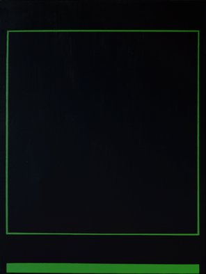 Anders Hingel: 'black space iii', 2017 Giclee, Minimalism. The challenge of minimalistic expression is use very simple signs for aiming at creating feelings and sensations. It is a play between simple forms, little variance of light and a limited span of colors. Here green, line, square and black. Don t care to ask me to explain what happens, ...