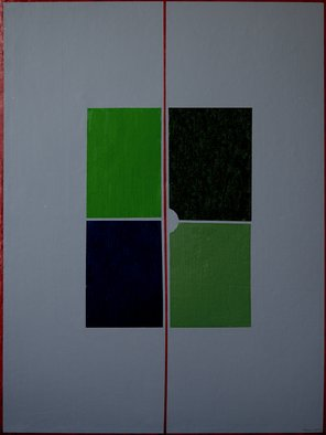 Anders Hingel: 'grey space i', 2017 Giclee, Minimalism. The challenge of minimalistic expression is use very simple signs for aiming at creating feelings and sensations. It is a play between simple forms, little variance of light and a limited span of colors. Here green, line, square and grey. Don t care to ask me to explain what happens, ...