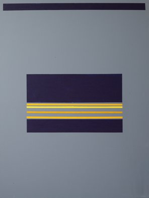 Anders Hingel: 'grey space ii', 2017 Giclee, Minimalism. The challenge of minimalistic expression is use very simple signs for aiming at creating feelings and sensations. It is a play between simple forms, little variance of light and a limited span of colors. Here line, square and blue, yellow, grey. Don t care to ask me to explain what ...