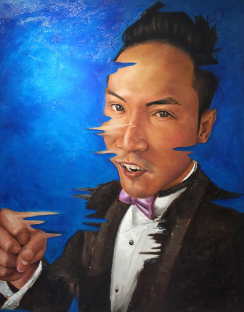 Wong Pun Kin  'Portrait Of Chinese Man', created in 2013, Original Painting Oil.
