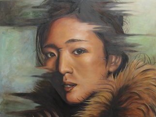 Wong Pun Kin: 'Portrait of Gong Li', 2013 Oil Painting, Political.     Portrait of Gong Li , Chinese Star, female star, oil painting,        ...