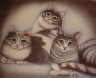 Undefined Medium by Can Yucel titled: Freehand Airbrushed Cat Family, 2006