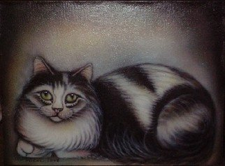 Can Yucel Artwork 'Freehand Airbrushed Cat Nr One', 2006. Other. Animals. Artist Description: Original freehand airbrushed painting on canvas. ......