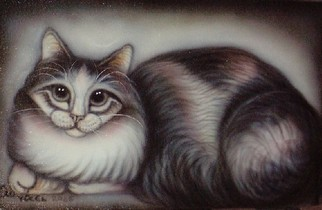 Undefined Medium by Can Yucel titled: Freehand Airbrushed Cat Nr Two, created in 2006