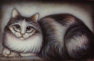 Can Yucel Artwork 'Freehand Airbrushed Cat Nr Two', 2006. Other. Animals. Artist Description: Original freehand airbrushed pianting on canvas. Airbrushed used: Sata 0,2mm, Paint: Glasurit 55 auto acrylic paint ......