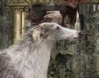 Airton Sobreira: 'Borzoi', 2011 Digital Painting, Dogs.    original digigraph signed on canvas   ...