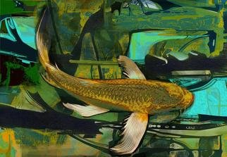 Airton Sobreira: 'Golden River Koi', 2013 Digital Art, Fish.                   original digigraph artist proof signed by airton sobreira on canvas or paper.available in several sizes.                  ...