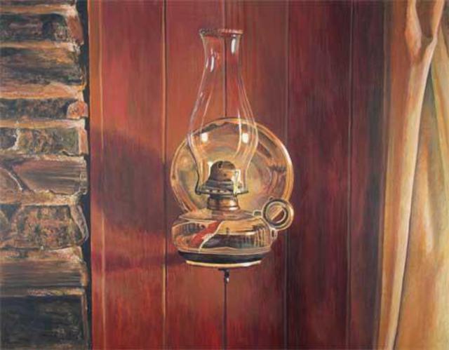 Alan Bateman Artwork Oil Lamp Original Painting Acrylic