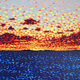 Alan Hogan: 'Sunset at Sea', 2008 Acrylic Painting, Seascape. Artist Description:  This acrylic- on- canvas painting was painted with the use of special fluorescent colours to enhance the feel of a real sunset. The artist Alan Hogan wants his paintings to catch the eye of the passer- by, and he achieves this by using such vivid imagery and striking ...
