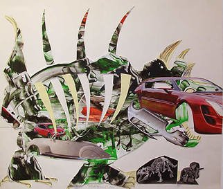 Mile Albijanic: 'autosaurus', 2010 Collage, Science. Artist Description: car dinosaur fossil. . . ...