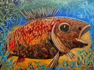 Mile Albijanic: 'big fish ii', 2010 Oil Painting, Animals. Artist Description: big fishII...
