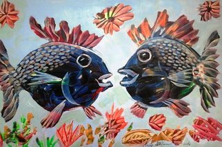 Mile Albijanic: 'fish 1', 2016 Oil Painting, Animals. Artist Description: fish 1...