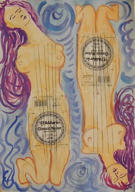Mile Albijanic: 'music female body', 2011 Watercolor, Atmosphere. Artist Description:  music female body  watercolor. . . ...