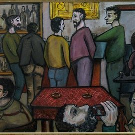 Mile Albijanic: 'tavern balkan', 1991 Oil Painting, New Age.