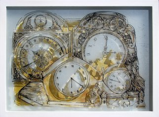 Alejandra Coirini: 'desk clocks', 2012 Lithograph, Figurative. time, decoration, clocks, clock, lithography, engraving...