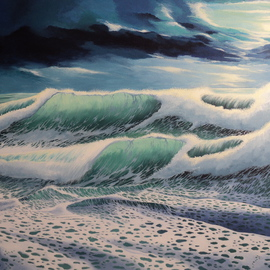 Alejandro Del Valle: 'First cut', 2013 Acrylic Painting, Seascape. Artist Description:  ocean, sea, wave, water, foam, moonlight, clouds    ...