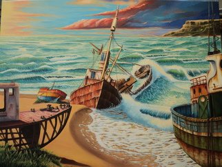 Alejandro Del Valle Artwork old witnesses, 2013 Acrylic Painting, Seascape