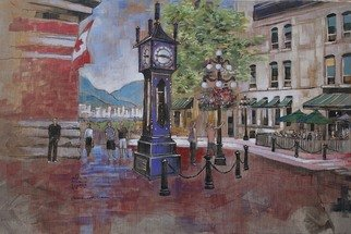 Artist: Aleksandar - Atza Visnjic - Title: Vancouvers Steamclock - Medium: Acrylic Painting - Year: 2010