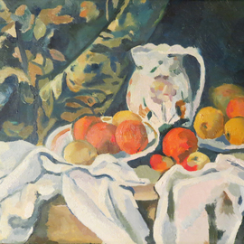 Alexander Filippovich: 'Copy Still life with drappery', 2016 Oil Painting, Still Life. Artist Description: Cezanne. still life, drappery, oranges, jug, table...