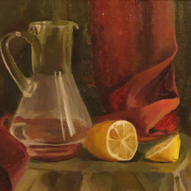 Alexander Filippovich: 'still life with a lemon', 2016 Oil Painting, Still Life. Artist Description: Still life, objects, lemon jug...