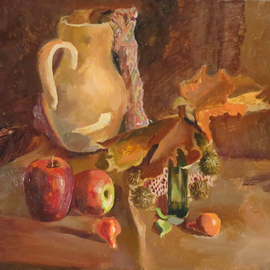 Alexander Filippovich: 'still life with apples', 2016 Oil Painting, Still Life. Artist Description: Still life, apples, jug, table, leaves, autumn, glass...