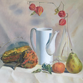 Alexander Filippovich: 'still life with pumpkins', 2017 Oil Painting, Still Life. Artist Description: pumpkins, table, pears, glass, physalis, still life, drappery...
