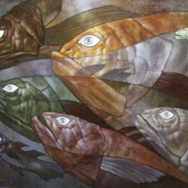 Alexandra Schastlivaya: 'Fishes', 2013 Oil Painting, Surrealism. Artist Description:   Reptiles, Mystic Depthes, Monsters,the Original of Life on Earth. . .      ...