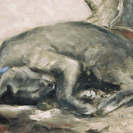Alex Heyes: 'Balthus III', 2008 Oil Painting, Cats.