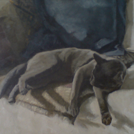 Alex Heyes Artwork Balthus IV, 2008 Oil Painting, Cats