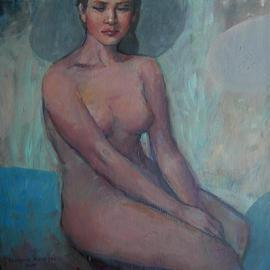 Alexandra Kruglyak-zecevic: 'Sitting quet', 2009 Acrylic Painting, nudes. Artist Description:  Peaceful relaxing colors of the background add to the dreamy sleepiness to the painting.   ...