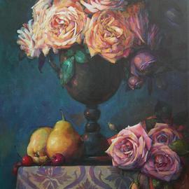 Alexandra Kruglyak-zecevic: 'Tea roses', 2008 Acrylic Painting, Still Life. Artist Description:  You would love this painting for years to come, I guarantee.It is beautiful and full of happy energy. ...