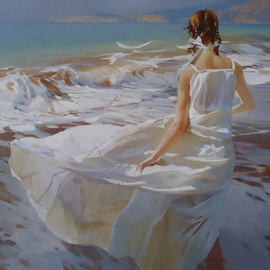 Alexey Chernigin: 'Atlantic', 2013 Oil Painting, Body. Artist Description: Girl, sea, waves, sun, summer, water, beach, white dress, wind...