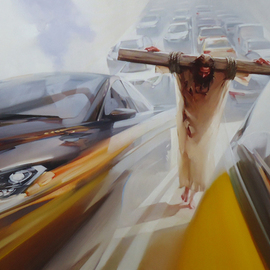 Alexey Chernigin: 'against the current', 2013 Oil Painting, Christian. Artist Description: In the stream of cars, Jesus, the cross, the carrying of the cross...