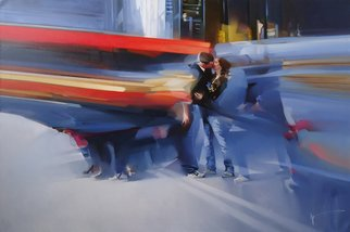 Alexey Chernigin: 'he and she', 2015 Oil Painting, Love. Artist Description: City, cars, lovers, kiss, love, twain...