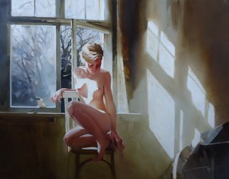 Alexey Chernigin: 'last leaf', 2014 Oil Painting, Body. Artist Description: Girl, window, light, sun, autumn, nude, model, leaf, erotic, nu ...