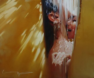 Alexey Chernigin: 'rain', 2016 Oil Painting, Love. Artist Description: Kiss, love, rain, drops, summer, lovers...