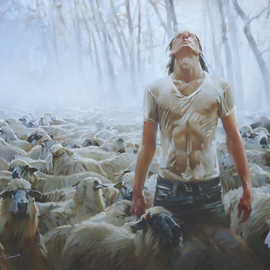 Alexey Chernigin: 'shepherd', 2015 Oil Painting, Philosophy. Artist Description: Shepherd, sheep, flock, rain, fog, destination...