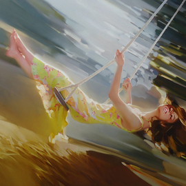 Alexey Chernigin: 'swing', 2014 Oil Painting, Flight. Artist Description: Swing, summer, dress, leaves, trees in motion...