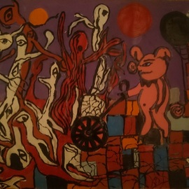 Alexey Chernosvitov: 'wandering in the lost land', 2020 Other Painting, Psychedelic. Artist Description: Psychology of fear. Fear is a survival tactic that is inherent in the human species. You are all familiar with the hit- or- run reaction, a condition in which the body mobilizes to eliminate a threat. It is in him that fear originates. And even though we are ...