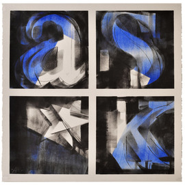 Alexey Klimov: 'ASKING x FOUR in BLUE', 2014 Ink Painting, Abstract. Artist Description:  Part of the collection of 4. I have a life- long fascination with digits and figures: their visual shapes, their meanings and the infinite number of words their interplay generates. Coincidentally my own initials add up into the word ASK, an extremely important word, the one that guides ...
