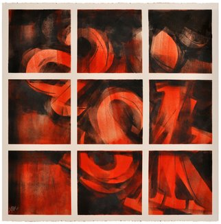 Alexey Klimov: 'ASKING x FOUR in RED', 2014 Ink Painting, Abstract. Artist Description:  Part of the collection of 4. I have a life- long fascination with digits and figures: their visual shapes, their meanings and the infinite number of words their interplay generates. Coincidentally my own initials add up into the word ASK, an extremely important word, the one that guides ...