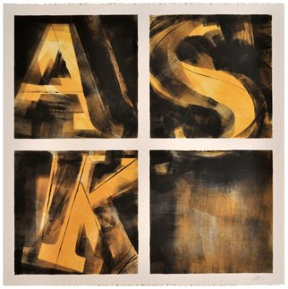 Alexey Klimov: 'ASKING x FOUR in YELLOW', 2014 Ink Painting, Abstract. Artist Description:  Part of the collection of 4. I have a life- long fascination with digits and figures: their visual shapes, their meanings and the infinite number of words their interplay generates. Coincidentally my own initials add up into the word ASK, an extremely important word, the one that guides ...