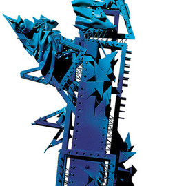 Alexey Klimov: 'DEFINITION BLUE', 2002 Mixed Media Sculpture, Abstract. Artist Description:   Most of my free- standing sculptures are aEURoetable sizeaEUR, though quite monumental by nature. These two were initially created as presentation pilots for a competition. They are not exactly diptych; I think of them as siblings. I also blended them into a museum environment blown to the size ...