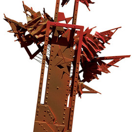 Alexey Klimov: 'DEFINITION RED', 2002 Mixed Media Sculpture, Abstract. Artist Description:   Most of my free- standing sculptures are aEURoetable sizeaEUR, though quite monumental by nature. These two were initially created as presentation pilots for a competition. They are not exactly diptych; I think of them as siblings. I also blended them into a museum environment blown to the size ...