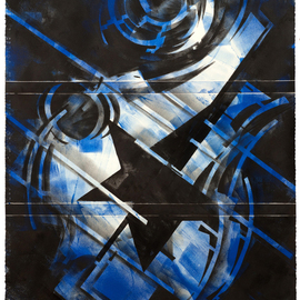 Alexey Klimov Artwork FOUR STAR in BLUE, 2014 Ink Painting, Abstract